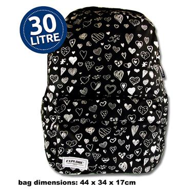 EXPLORE 30ltr BACKPACK - BLACK HEARTS FULL