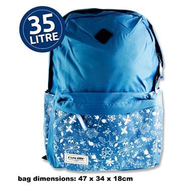 EXPLORE 35ltr BACKPACK - BLUE FLORAL HOOP