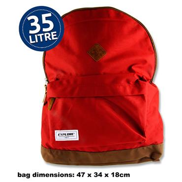 EXPLORE 35ltr BACKPACK - BAC PAC RED & TAN