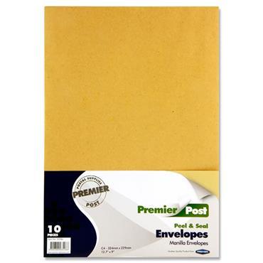 PREMIER POST PKT.10 C4 P+S ENVELOPES - MANILLA