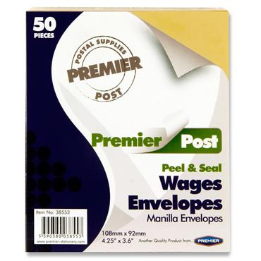 Premier Post Pkt.50 P+s Wages Envelopes - Plain