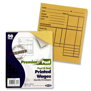Premier Post Pkt.50 P+s Wages Envelopes - Printed