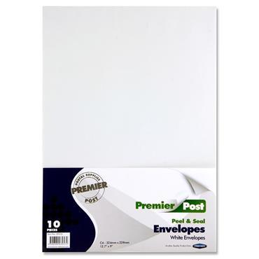 Premier Post Pkt.10 C4 P+s Envelopes - White