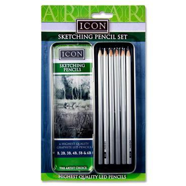 Icon Set Sketching Pencils - B-6b In Tin