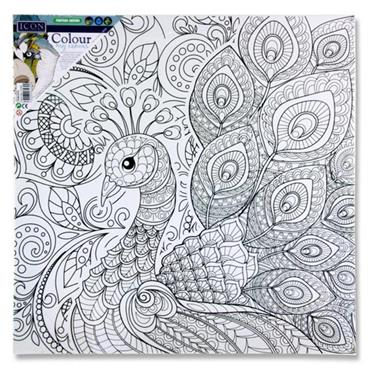 ICON 300x300mm COLOUR MY CANVAS - PEACOCK