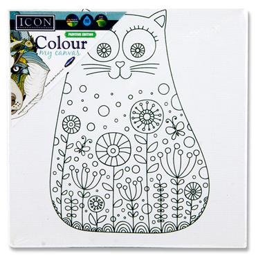 Icon 100x100mm Colour My Canvas - Cat