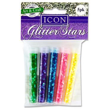 Icon Pkt.5 Tubes Glitter Stars - Pastel