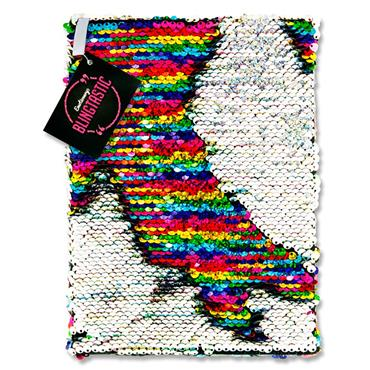 Emotionery Blingtastic A5 160pg Sequins Notebook - Silver & Rainbow
