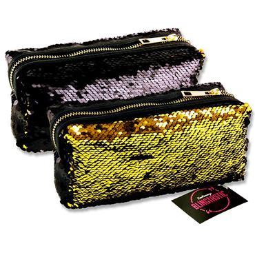 Emotionery Blingtastic Sequins Pencil Case - Black & Gold