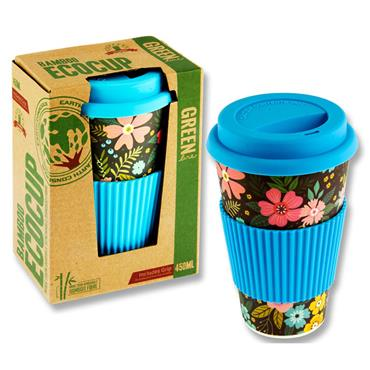 Premier Green Line 15oz/450ml Bamboo Coffee Ecocup - Floral