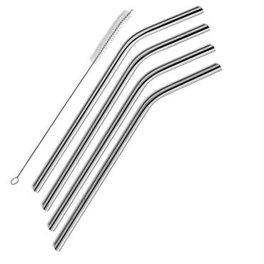Premier Universal Card 4 Curved Stainless Steel Eco Straws