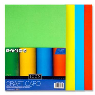 Icon Pkt.10 A4 220gsm Craft Card - Brights