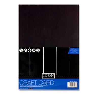 Icon Pkt.10 A4 220gsm Craft Card - Black