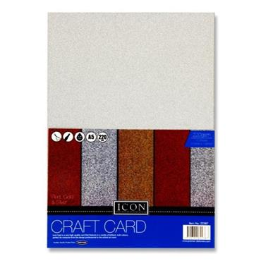 Icon Pkt.10 A5 220gsm Craft Card - Glitter