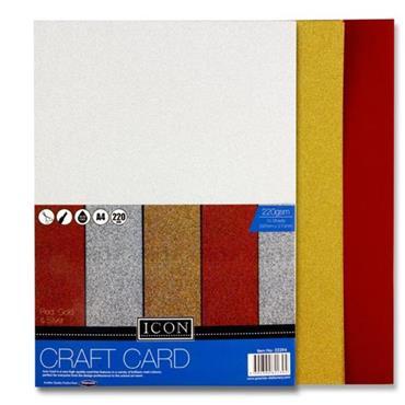Icon Pkt.10 A4 220gsm Craft Card - Glitter