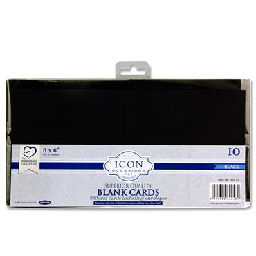 "Icon Occasions Pkt.10 6""x6"" 250gsm Cards & Envelopes - Black"