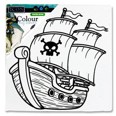 Icon 100x100mm Colour My Canvas - Pirate Ship