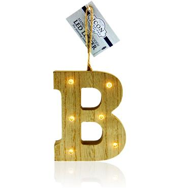 ICON OCCASIONS 10cm HANGING WOODEN LED LETTER - B