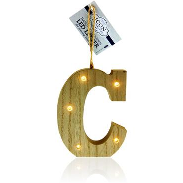 ICON OCCASIONS 10cm HANGING WOODEN LED LETTER - C