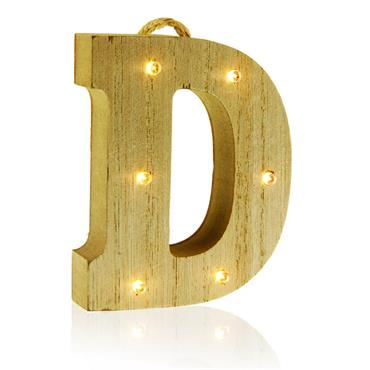 ICON OCCASIONS 10cm HANGING WOODEN LED LETTER - D