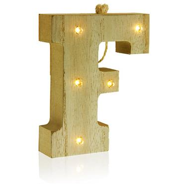 ICON OCCASIONS 10cm HANGING WOODEN LED LETTER - F