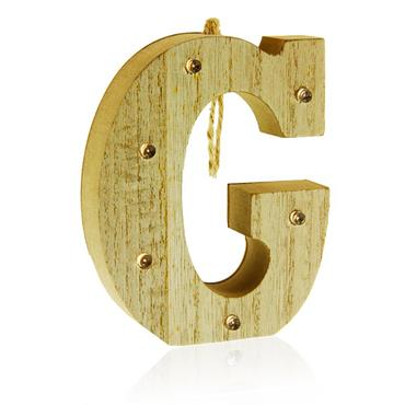 ICON OCCASIONS 10cm HANGING WOODEN LED LETTER - G