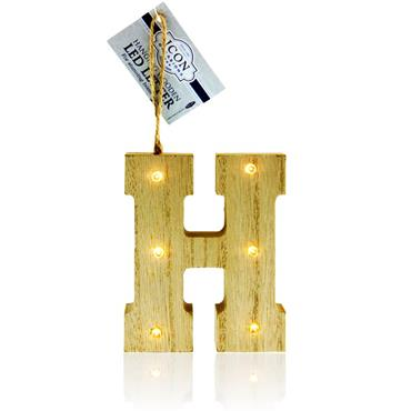 ICON OCCASIONS 10cm HANGING WOODEN LED LETTER - H