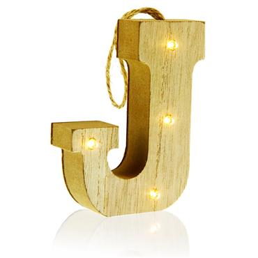 ICON OCCASIONS 10cm HANGING WOODEN LED LETTER - J