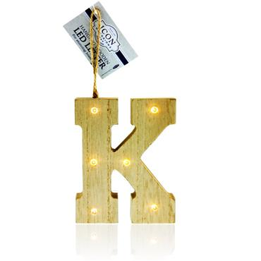 ICON OCCASIONS 10cm HANGING WOODEN LED LETTER - K