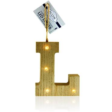 ICON OCCASIONS 10cm HANGING WOODEN LED LETTER - L