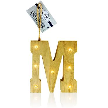 ICON OCCASIONS 10cm HANGING WOODEN LED LETTER - M