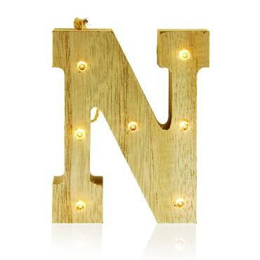 ICON OCCASIONS 10cm HANGING WOODEN LED LETTER - N