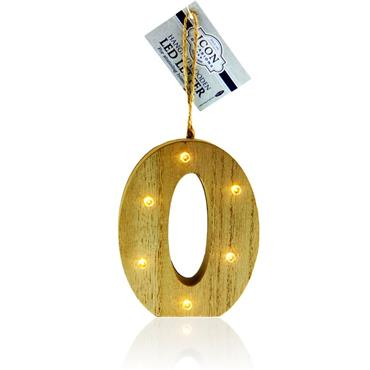 ICON OCCASIONS 10cm HANGING WOODEN LED LETTER - O