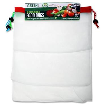 GREEN LINE PKT.3 BPA FREE REUSABLE FOOD BAGS - SIZE M & L