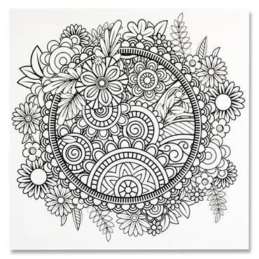 Icon 300x300mm Colour My Canvas - Floral Mandala