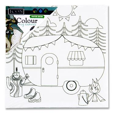 Icon 100x100mm Colour My Canvas - Caravan