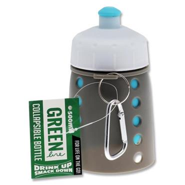 GREEN LINE 500ml COLLAPSIBLE BOTTLE - BLUE