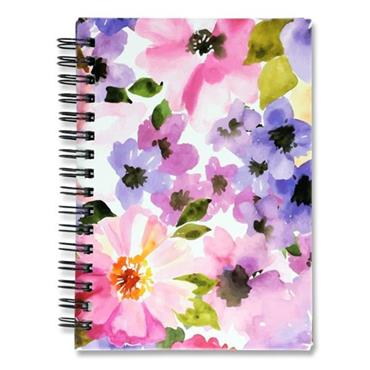 I LOVE STATIONERY A6 160pg WIRO NOTEBOOK - WATERCOLOUR FLOWERS