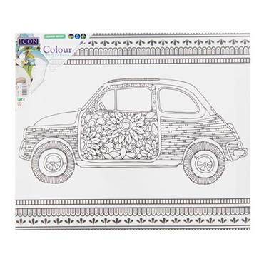 ICON 300x250mm COLOUR MY CANVAS - FLORAL CAR