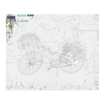 ICON 300x250mm COLOUR MY CANVAS - COUNTRY BIKE