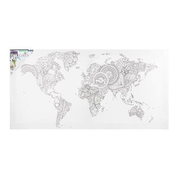 ICON 300x600mm COLOUR MY CANVAS - WORLD MAP