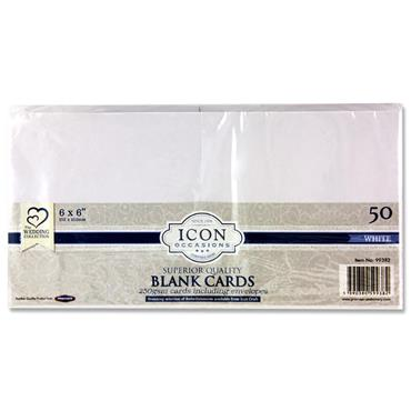 "Icon Occasions Pkt.50 6""x6"" 250gsm Cards & Envelopes - White"