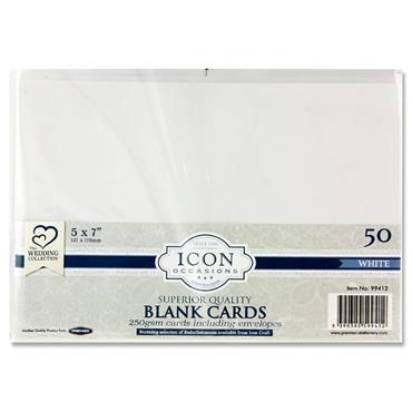 "Icon Occasions Pkt.50 5""x7"" 250gsm Cards & Envelopes - White"