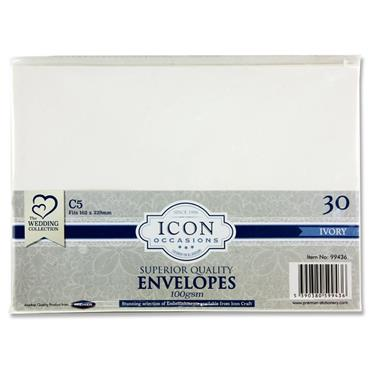 Icon Occasions Pkt.30 C5 100gsm Envelopes - Ivory