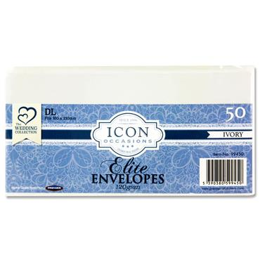 Icon Occasions Pkt.50 Dl 120gsm Envelopes - Ivory