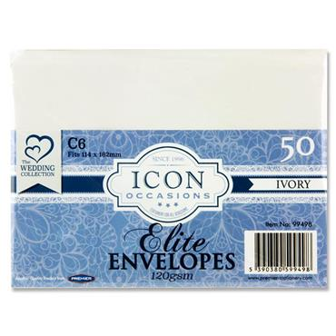 Icon Occasions Pkt.50 C6 120gsm Envelopes - Ivory