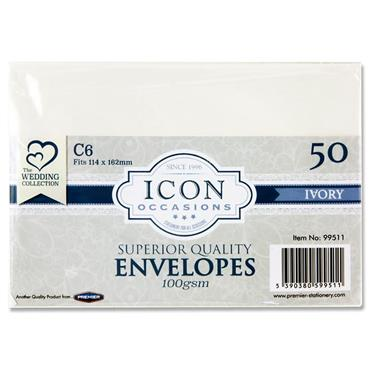 Icon Occasions Pkt.50 C6 100gsm Envelopes - Ivory