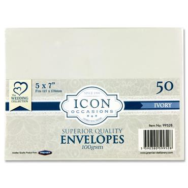 "Icon Occasions Pkt.50 5""x7"" 100gsm Envelopes - Ivory"