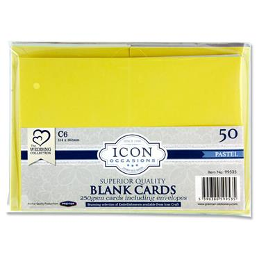 Icon Occasions Pkt.50 C6 120gsm Cards & Envelopes - Pastel