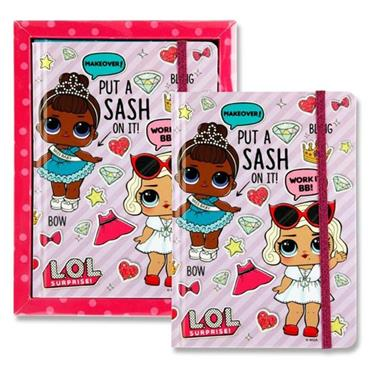 LOL SURPRISE 13x18 200pg DIARY WITH ELASTIC - STRIPES
